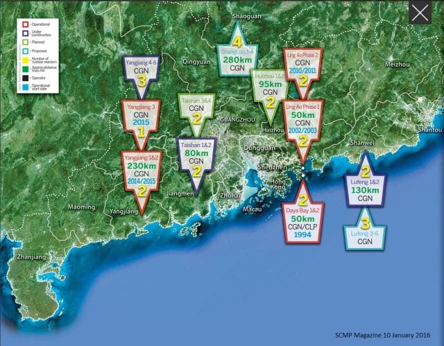Nuclear reactors near HK